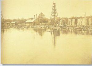 lake oil derricks