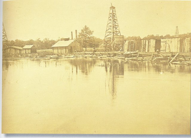 lake oil derricks